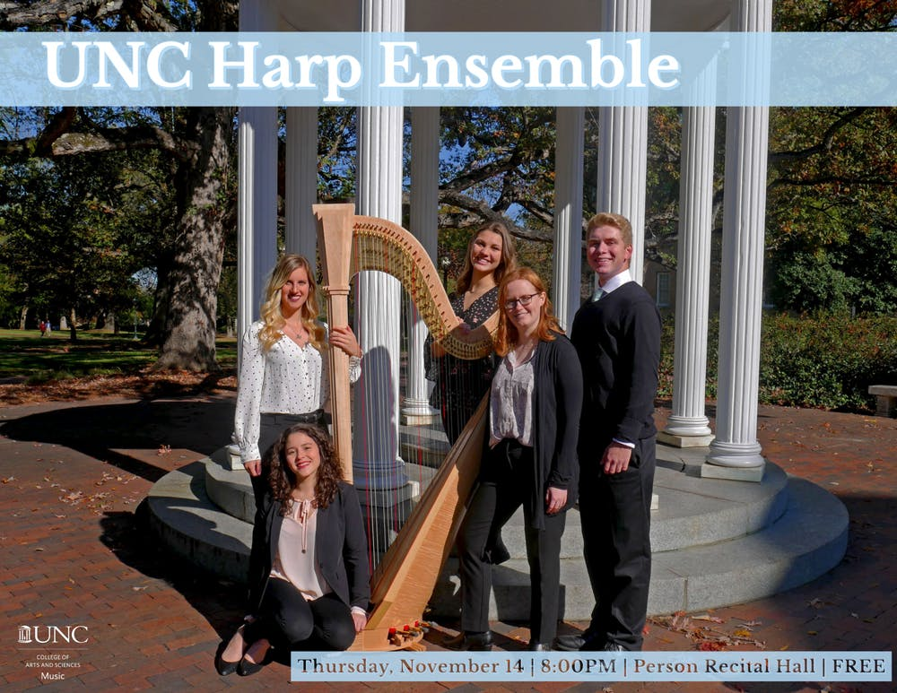 Five harpists will play together at the UNC Harp Ensemble's upcoming fall concert