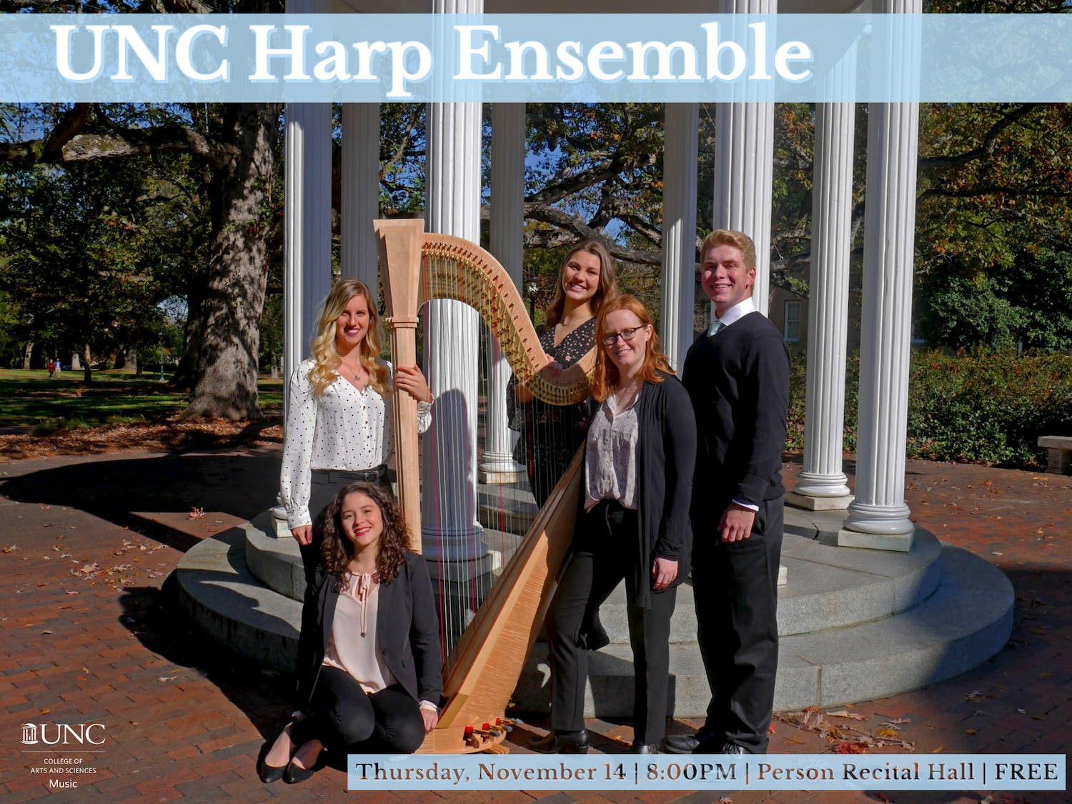 The UNC harp ensemble who will be performing at their fall concert. Photo courtesy of Cat Zachary.