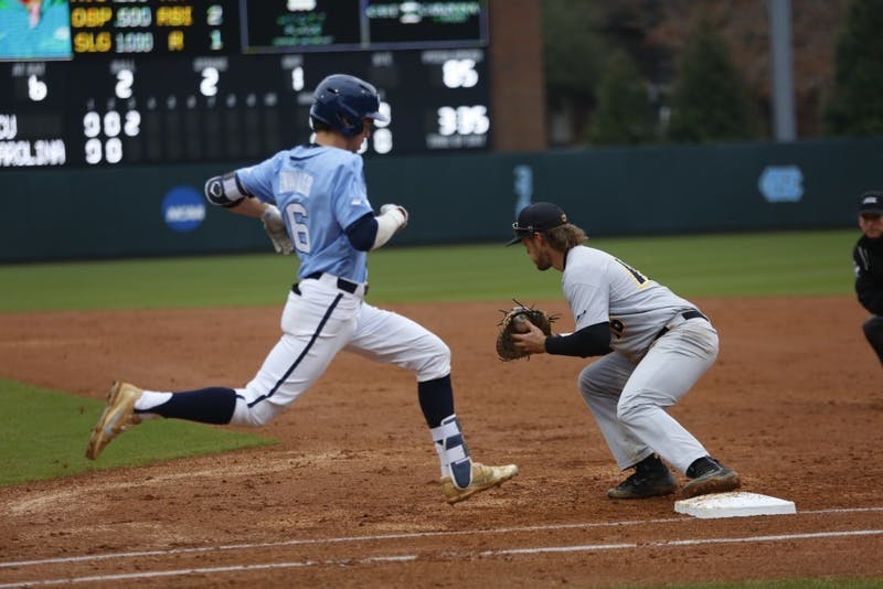 Sophomore Dylan Enwiller (6) just misses a chance at a single during UNC 11-8 loss over VCU on Wednesday.