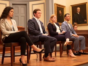 (Left to right) Ashton Martin, Jack Noble, Jane Tullis and Tarik Woods participated in the Student Body Presidential Debate on Thursday, Feb.7, 2019.  The Dialectic and Philanthropic Societies hosted the event in New West in front of a small audience comprised of UNC-Chapel Hill students.