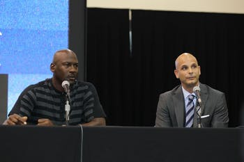 Former UNC basketball player and Charlotte Hornets owner Michael Jordan with Pete Guelli in 2013. Photo courtesy of Charlotte Hornets.