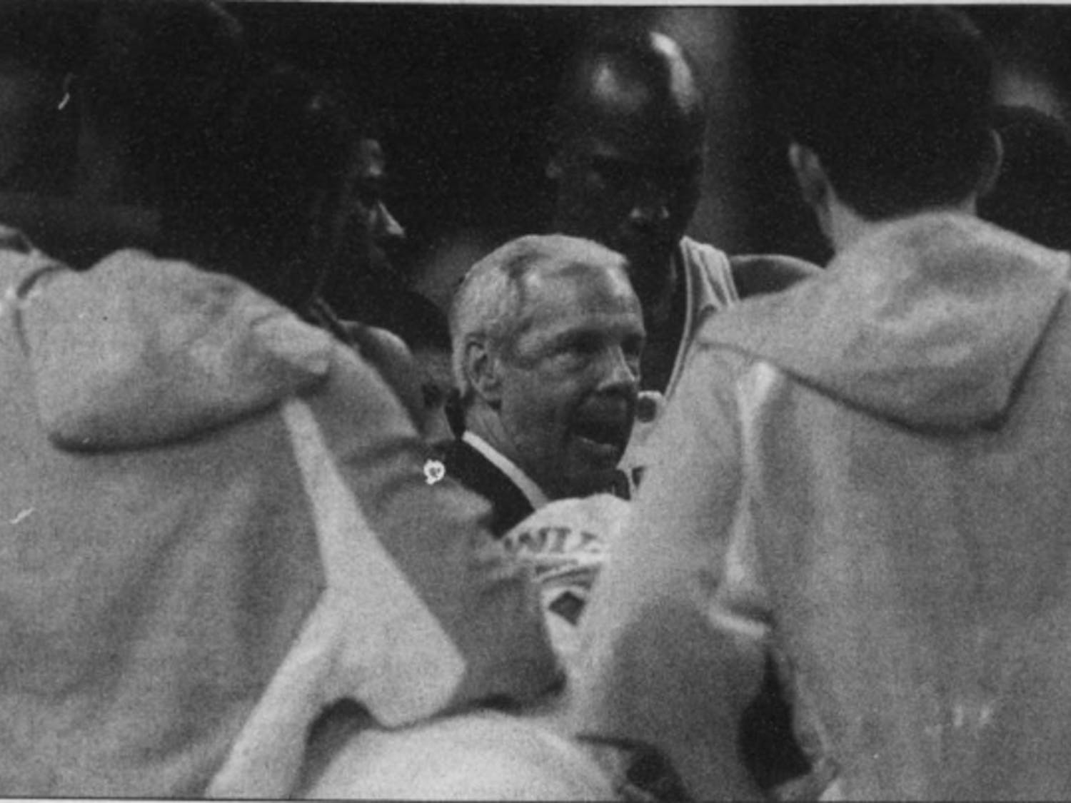 DTH Archive. Head men's basketball Coach Roy Williams talks to his team at halftime of an 87-71 final four victory over Michigan State University, April 2, 2005. The team would go on to top Illinois 75-70 to win UNC's 4th National Championship.