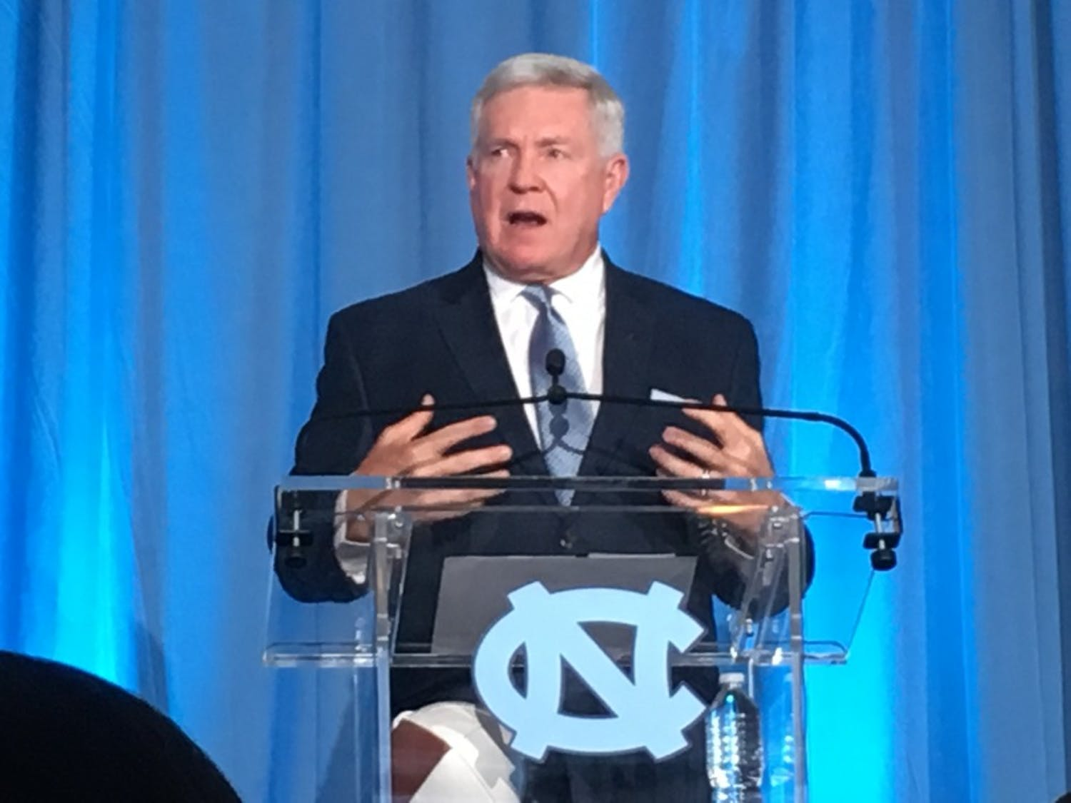 New UNC football head coach Mack Brown speaks during his introductory press conference on Nov. 27, 2018.