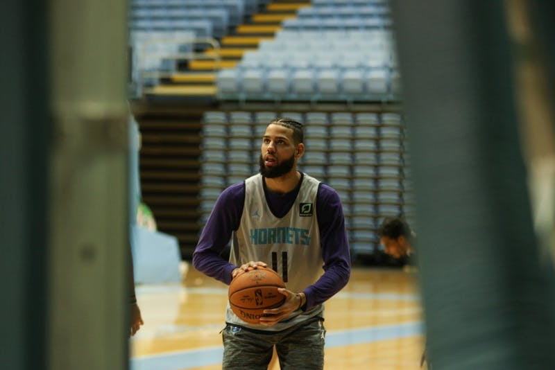 Charlotte Hornets forward Cody Martin (11) shoots around after training camp practice in the Dean E. Smith Center on Friday, Oct. 4, 2019.