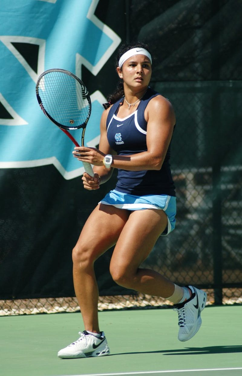 Florida native Gina Suarez-Malaguti felt at home this weekend in the women's tennis team's road swing at Miami and Florida State. Suarez-Malaguti won her singles match against FSU to help her team rally for the win against the No. 30 Seminoles.
