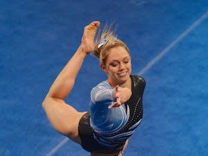 UNC junior Emily Cornwell performs her floor exercise.