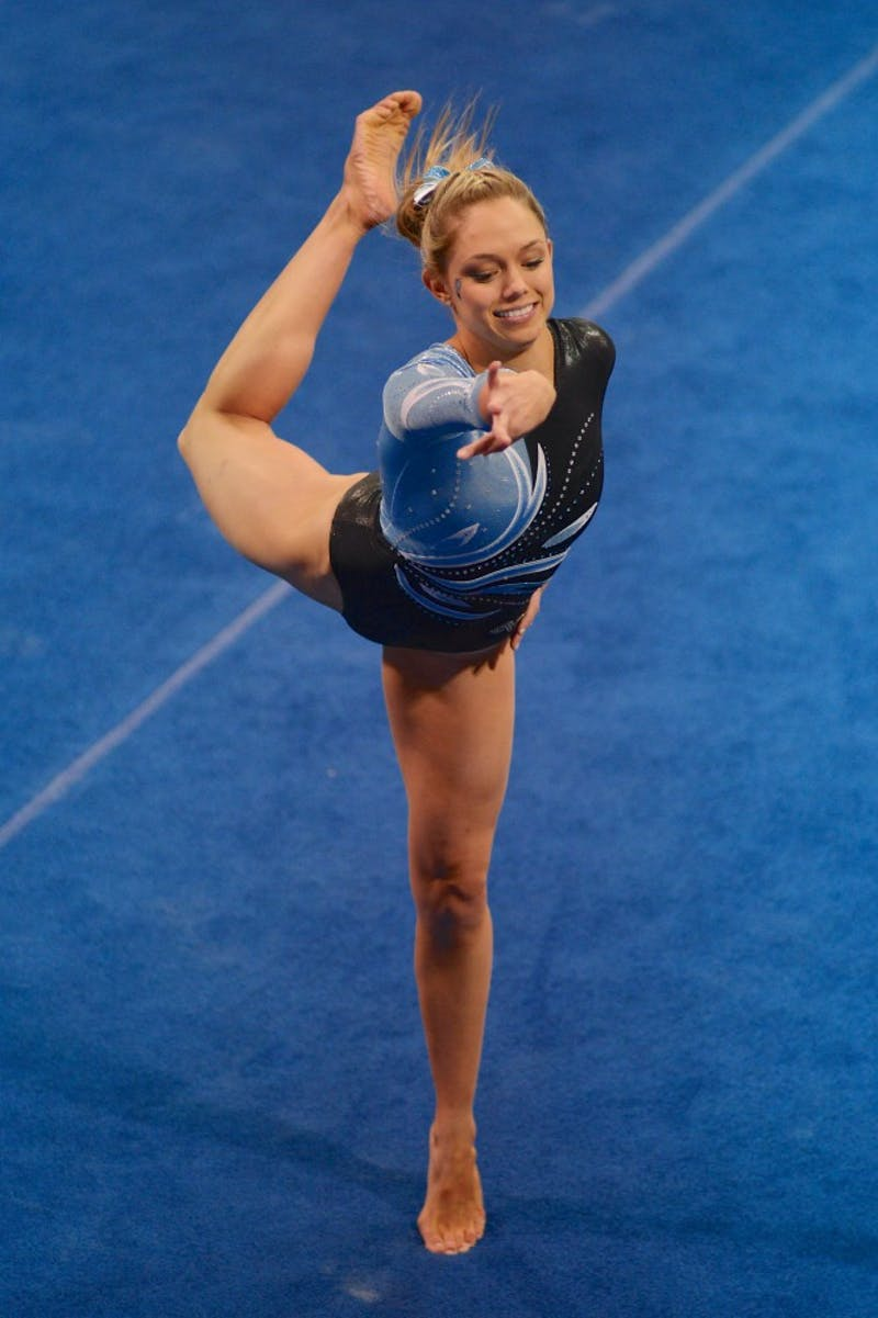 UNC junior Emily Cornwell performs her floor exercise.