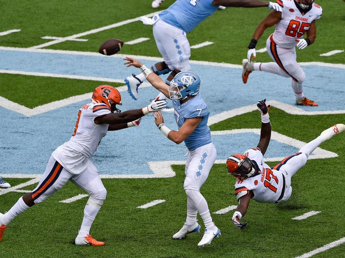 UNC sophomore quarterback Sam Howell (7) makes a pass during a game against Syracuse on Saturday, Sept. 12, 2020. UNC beat Syracuse 31-6.