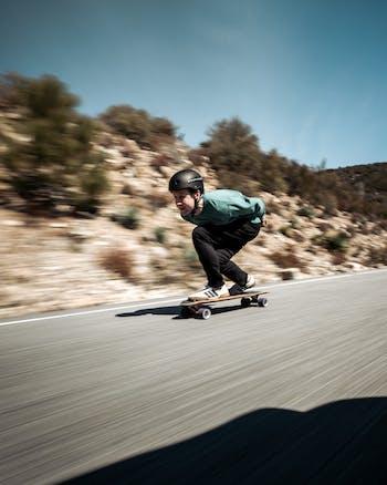 Josh Neuman, skates down a street. All photos courtesy of Neuman.