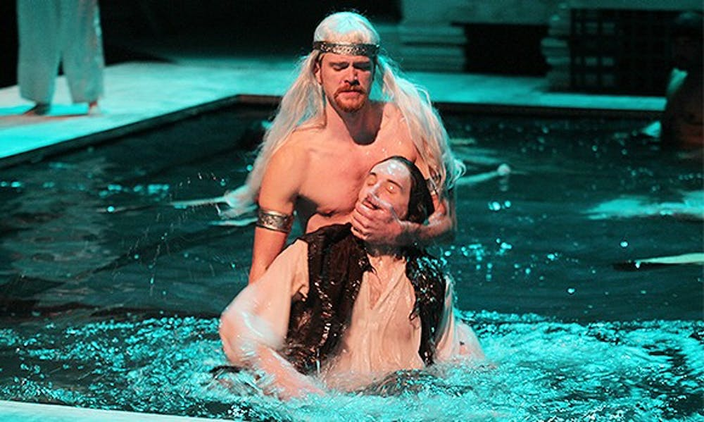 "<p>Gregory DeCandia and Patrick McHugh, playing the roles of fifth man and third man, are featured in Playmakers Repertory Company ""Metamorphoses."" </p>"
