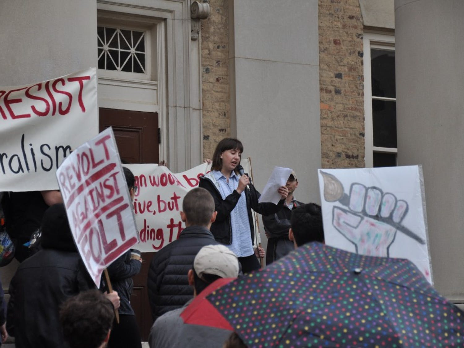Art students outside of South Building take turns speaking outagainst Chancellor Folt and the condition of Hanes Art Center on Monday.