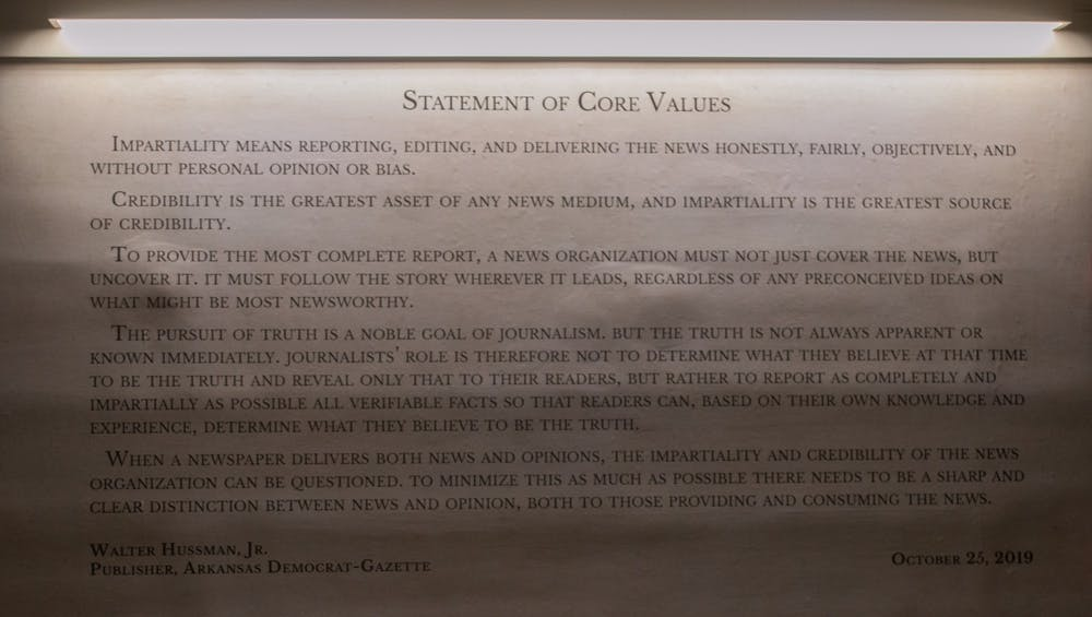<p>The Statement of Core Values, created by Walter Hussman Jr., publisher of the Arkansas Democrat-Gazette, is in Carroll Hall.</p>