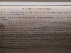 The Statement of Core Values, created by Walter Hussman Jr., publisher of the Arkansas Democrat-Gazette, is in Carroll Hall.