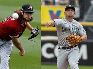 Starting pitcher Zac Gallen (23) of the Arizona Diamondbacks and Seattle Mariners third baseman Kyle Seager pictured in 2021. Photos courtesy of  Ralph Freso/Getty Images/TNS and Brian Cassella/TNS.