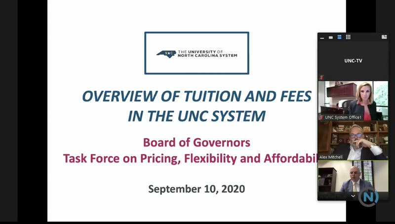 Members of the Board of Governors met over Zoom on Thursday, Sept. 10, 2020 to discuss tuition and fees and address pricing and affordability for the fall 2020 semester.