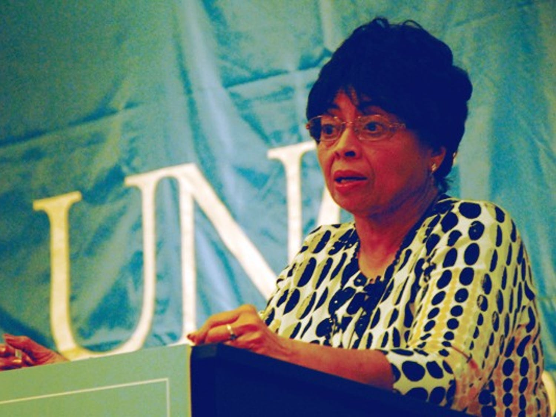 Karen Parker, the first black woman undergraduate at UNC, delivered a speech Monday night. DTH/Helen Woolard