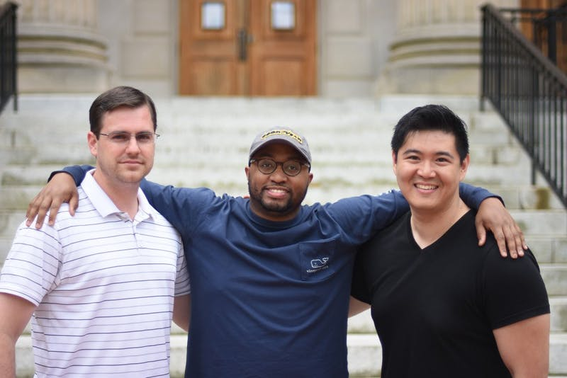 Joseph Hiatt (left), Marco Sommerville II (middle), and Wen Lin are all second year MBA students that started the initiative for a class that partners restaurants with the Durham rescue mission.
