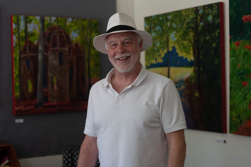Mayor Thomas Stevens talks about his art  and his time as mayor in his gallery in downtown Hillsborough on Tuesday June 18, 2019.