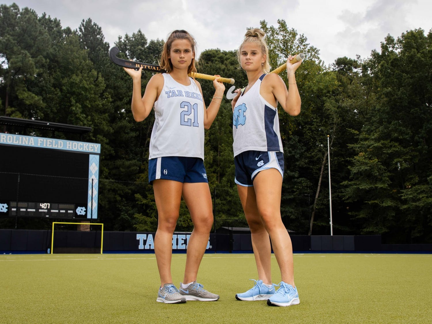Sisters Eva and Jasmina Smolenaar are sharing one semester competing for the Tar Heels on the field hockey team. They are pictured in Karen Shelton Stadium on Sept. 8.