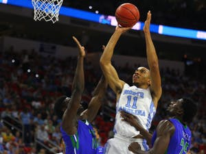 Brice Johnson shoots the ball in the first half.