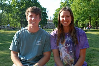 Tolson Jeffrey (left) and Abby Mueller are the founders of a new student group, Best Foot Forward, which aims to raise money for prosthetics for amputees.