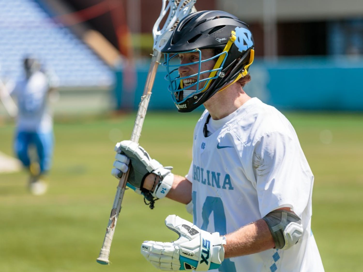 William McBride (14) reacts to a call against Notre Dame on April 21 at Kenan Stadium.