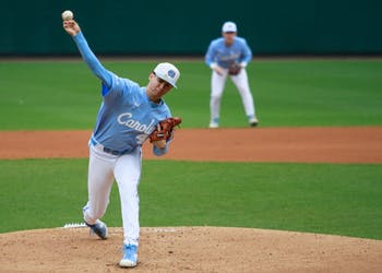 UNC pitcher junior Austin Bergner (45) throws a pitch for the Tar Heels against UMass Lowell Sunday, March 3, 2019 at Boshamer Stadium.