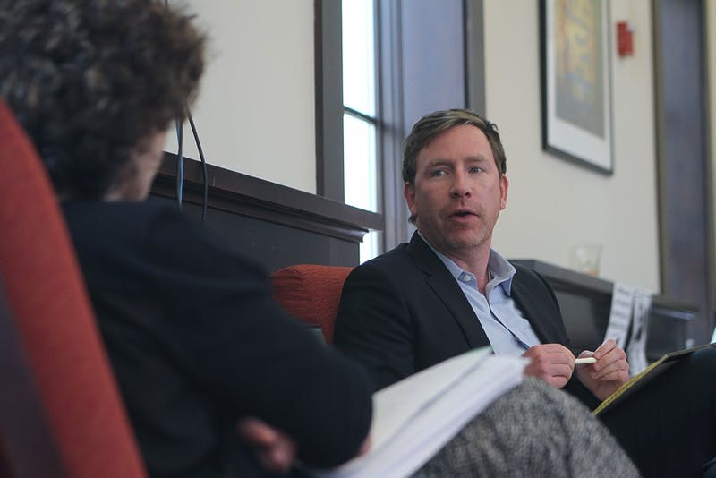 Chris Brook, the Legal Director of the American Civil Liberties Union of North Carolina, spoke with students about the problems associated with North Carolina's use of solitary confinement in prisons Wednesday.