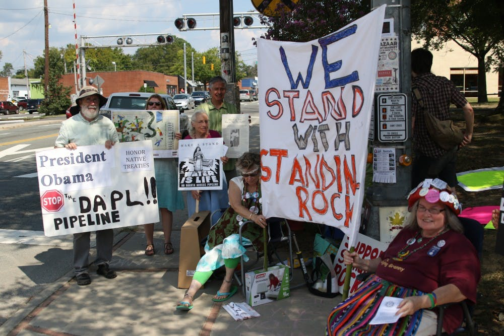 Protestors in Carrboro oppose pipeline in Standing Rock