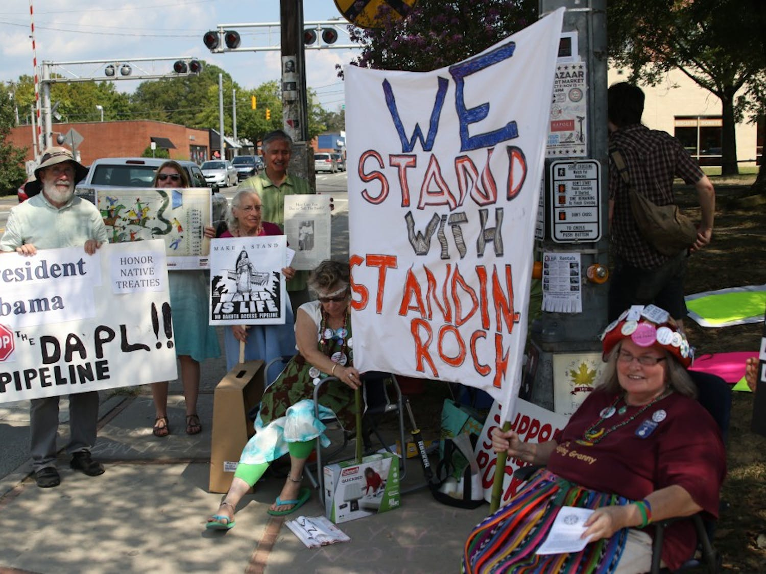 Protestors gathered in Carrboro to protest the construction of the Dakota pipeline that is disrupting ancient Native American burial grounds.