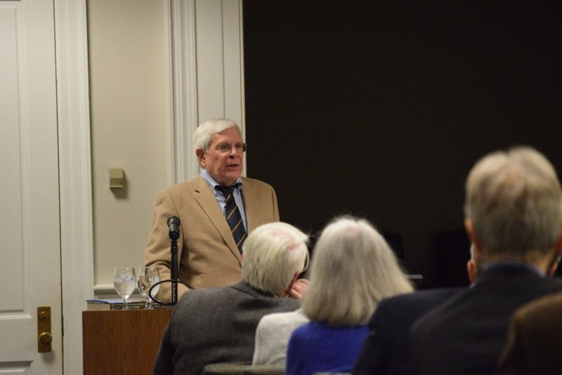 "Howard E. Covington Jr. speaks on past presidents at UNC, based off his book: ""Fire and Stone: The Making of the University of North Carolina Under Presidents Edward Kidder Graham and Harry Woodburn Chase"", at Wilson Library on Tuesday, Feb. 19, 2019."