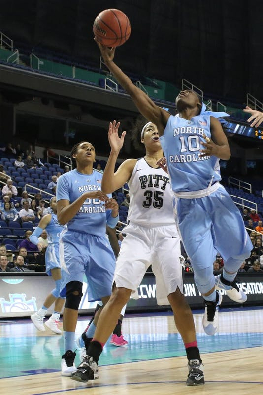 Carolina guard Jamie Cherry (10) lays the ball in during Wednesday's game. The Tar Heels fell to the University of Pittsburgh 82-72 in overtime in the opening round of the ACC tournament.