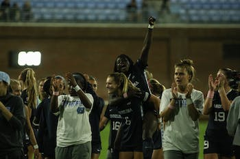 The UNC women's soccer team celebrates their win against Clemson during a game on Saturday, Oct. 5th, 2019. UNC beat Clemson 1-0.