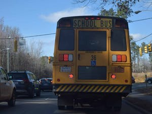 A school bus drives down MLK Jr. Blvd. on Monday, March 4, 2019.