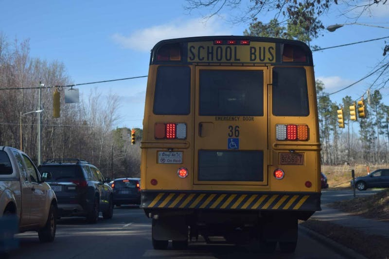 A school bus drives down MLK Jr. Blvd. on Monday, March 4, 2019.