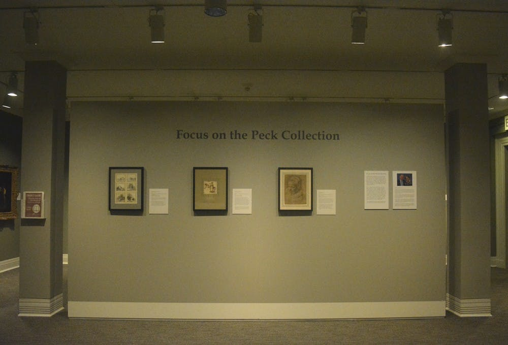 "<p>The first installment of the 134-piece ""Focus on the Peck Collection Exhibit"" donated by Sheldon and Leena Peck is currently displayed at the Ackland Art Museum.</p>"
