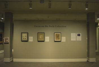 "The first installment of the 134-piece ""Focus on the Peck Collection Exhibit"" donated by Sheldon and Leena Peck is currently displayed at the Ackland Art Museum."