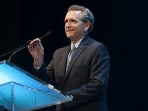 UNC Athletic Director Bubba Cunningham speaks at the Rammys. Photo taken by Jeffrey A. Camarati and courtesy of UNC Athletic Communications.