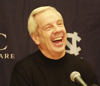 Men's basketball coach Roy Williams laughs at a press conference on Wednesday in advance of UNC's game vs. Virginia Tech on Thursday.