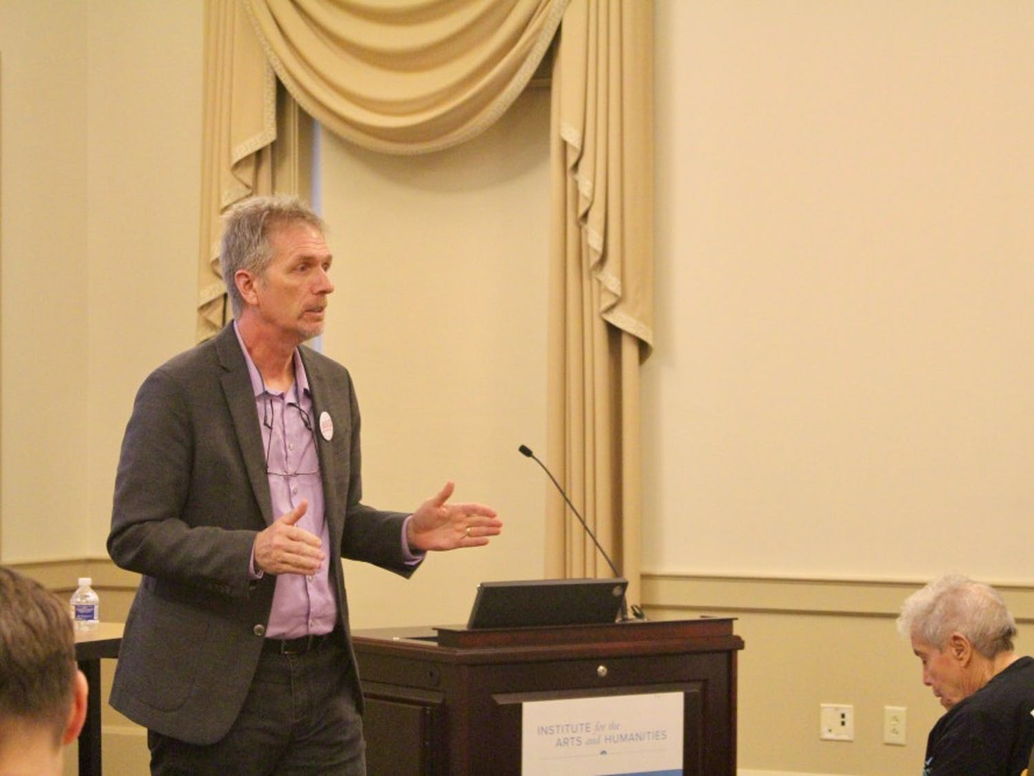 Jay Smith, a history professor at the University of North Carolina at Chapel Hill talks at the re-launching of the school's chapter of the American Association of University Professors on Friday, Oct. 9, 2018
