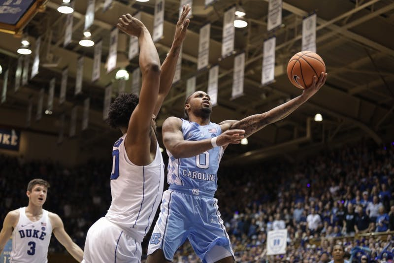 North Carolina guard Seventh Woods (0) shoots a lay up during the second half of a March 3 away game against Duke.