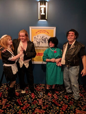 """People in costume at the Lumina Theatre showing of """"The Rocky Horror Picture Show."""" Photo courtesy of Jason Barker."""