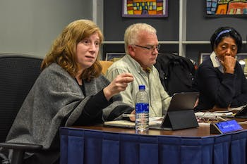 Orange County Schools Board of Education members hear a presentation about African American History Month at the meeting on Feb. 10, 2020.
