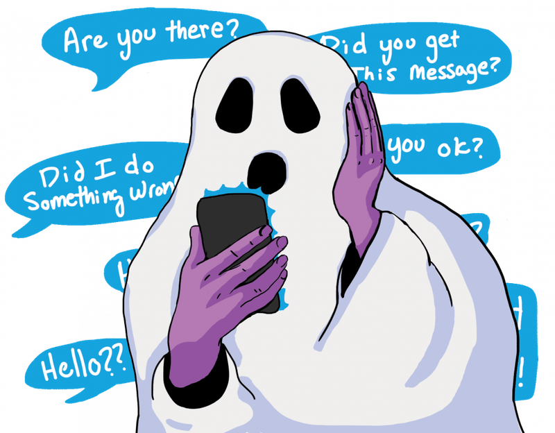 Illustration by Haley Hodges. Students at UNC and at campuses across the country have fallen prey to ghosting, which involves sudden and total disappearance from a relationship.