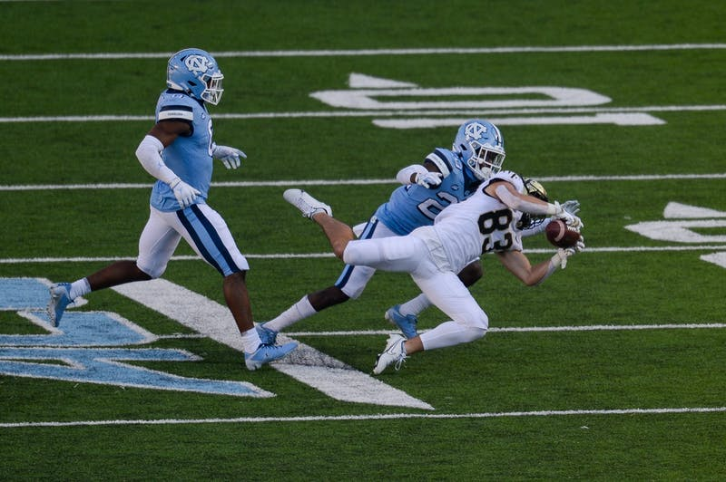 Wake Forest's redshirt first year wide receiver Taylor Morin catches the ball during a game against UNC Kenan Memorial Stadium on Saturday, Nov. 14, 2020. UNC beat Wake Forest 59-53.