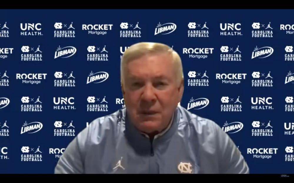 Mack Brown speaks at a virtual press conference on Thursday July 8, 2021. Screenshot by Kaitlyn Schmidt.