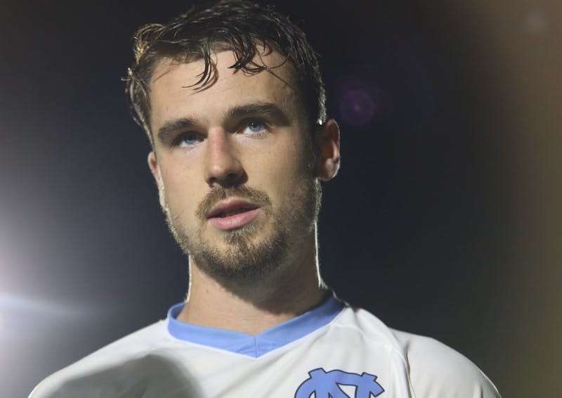 UNC senior defender Alex Comsia answers questions about UNC men's soccer win over Duke 2-1 during the semi-finals of the ACC Championship.