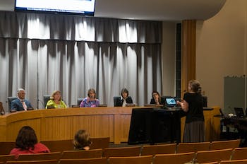 Chapel Hill citizen Kim Piracci delivers passionate call for climate action on behalf of the town council, regardless of financial concerns, at the Town Council Meeting on Sept. 25, 2019.