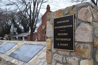 Northside Neighborhood displays a memorial regarding segregation and its history in Chapel Hill, located in front of St. Joseph Christian Methodist Episcopal Church on Sunday, Feb.10, 2019.