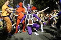 Kevin Coley from Greensboro, NC, in purple, poses with his friends as Dragon Ball Z as the Ginyu Forest.